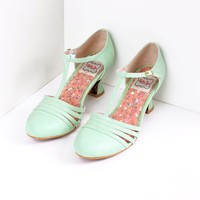 Bettie Page Mint Leatherette Lucy T-Strap Heels