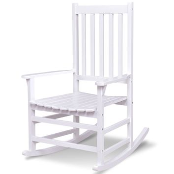 Indoor Outdoor Solid Wood Porch Rocking Chair - White