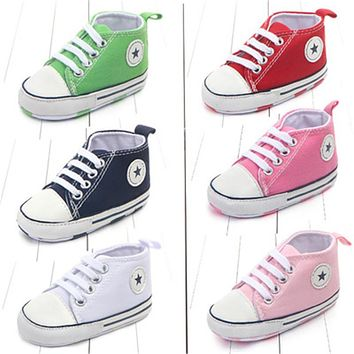 New Converse Style Canvas Classic Sports Sneakers Newborn Baby Boys Girls First Walkers Shoes Infant Toddler Soft Sole Non-Slip Baby Shoes