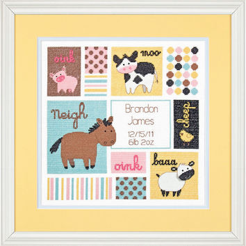 Completed Cross Stitch, Barn Babies, Birth Record, Farm Animals, Nursery Decor, Personalized, Baby Shower Gift, Baby Boy, Baby Girl,