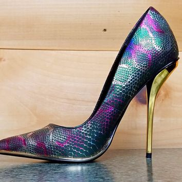 """Luichiny Mind Blowing Multi Green Snake Pointy Toe Pump Shoe 4.5"""" High Heel"""