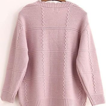 Pink-Purple Rose Plaid Collarless Cardigan