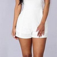 White Backless Romper B007563