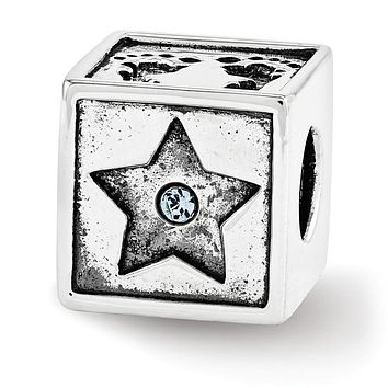Sterling Silver with Blue Swarovski Crystals Baby Block Bead Charm