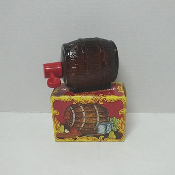 1976 Vintage Avon Spicy After Shave on Tap Decanter with Box & Contents, Brown Glass Bottle Shaped Like Barrel, Vintage Avon Men's Product