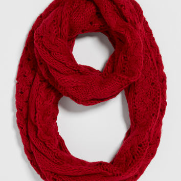 infinity scarf with cable and weaved knit in lipstick red