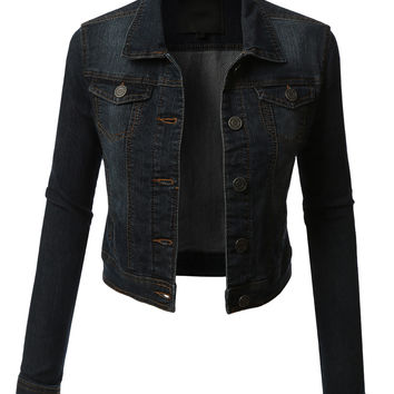 LE3NO Womens Denim Jacket with Pocket