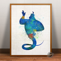 Genie Print Watercolor, Aladdin Poster, Disney Art, Aladin Illustration, Watercolour, Giclee Wall, Kid Artwork, Comic, Fine, Home Decor