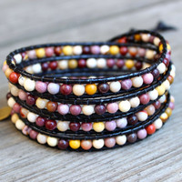 Beaded Leather Wrap Bracelet 4 or 5 Wrap with Moukaite Jasper Beads on Natural Black Leather Autumn Colors for Fall