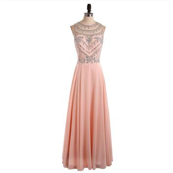 Beauty Scoop Neck Beading Open Back Pink Chiffon Long Prom Dresses Sleeveless A Line Floor Length Prom Dress