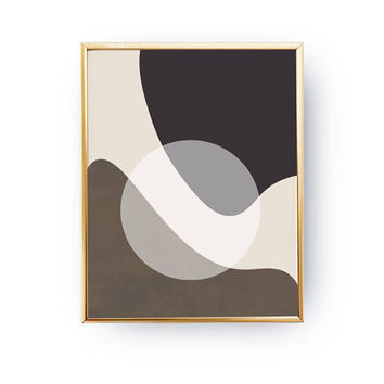 Textured Pastel Decor, Minimal Poster, Abstract Shapes, Simple Art, Geometric Textures, Mid Century, Modern Design, Brown Black Artwork
