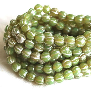 25 Lime, Avocado, Olive Green Mercury picasso melon beads, 6mm pressed Czech glass beads C0901