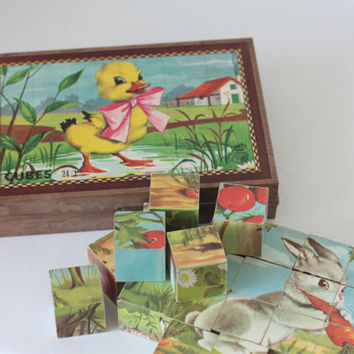Wood cubes - Jigsaw puzzle in their box / Construction set for child / Wood construction elements / Garnier Cornil / 1970