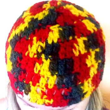 Hat Crochet Wool Winter Rasta Bob Marley Yellow Red Green  Warm Cozy Boho Bohemian Hippie Unisex