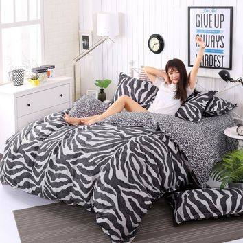 Cool 3/4pcs King Size Geometric Bedding Sets Leopard Queen twin Size Duvet Cover Sets Pillowcases Bed Linen Black&White Bed ClothesAT_93_12