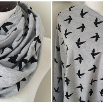 Gray and Black Bird Nursing Infinity Scarf