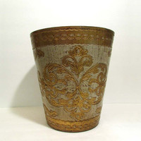 Vintage Italy Toleware Gilt Trash Can Garbage Pail Gold Cream/Antique White Florentine Hollywood Regency