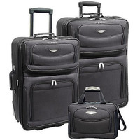 Gray, Black, or Red 3 Piece Carry-On Travel Wheeled Rolling Expandable Suitcase Luggage Set Baggage Set