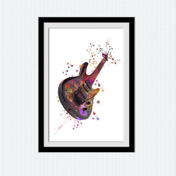 Guitar print Guitar poster Watercolor guitar illustration Colorful guitar wall poster Home decoration wall art Kids room wall decor  W348