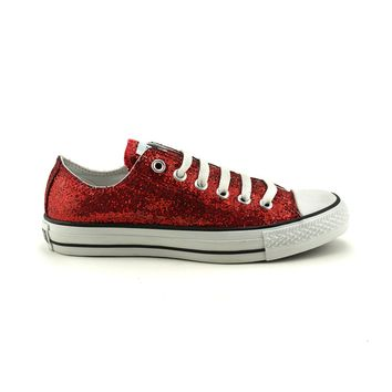 Converse All Star Lo Glitter Athletic Shoe, Red  Journeys Shoes