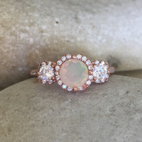 Opal Rose Gold Ring- Three Stone Ring- Engagement Ring- Promise Ring for Her- Bridal Ring-Wedding Ring- Art Deco Ring- Rose Gold Ring- Opal