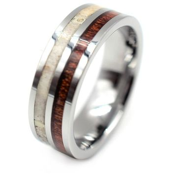 Exquisite Tungsten Carbide Ring With Deer Antler and Hawaiian Koa Wood Inlay 8mm