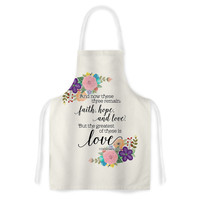 """Noonday Design """"Faith, Hope, And Love"""" Beige Multicolor Artistic Apron"""