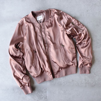 lightweight satin bomber jacket - rose gold