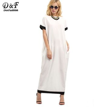 Female Patchwork White and Black Trim Contrast Twin Pockets Round Neck Short Sleeve Long Dress