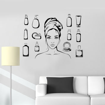 Vinyl Wall Decal Beauty Salon Cosmetics Woman Bathroom Art Cosmetology Stickers Mural Unique Gift (ig5031)