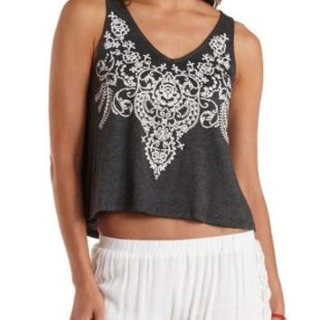 Charcoal Embroidery Print Swing Tank Top by Charlotte Russe