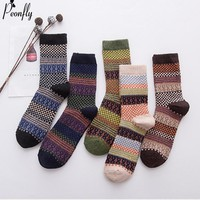 PEONFLY National Style Multi Colorful Geometric Square Printing Men Socks Autumn Winter Thick Rabbit Wool Warm Male Retro Socks