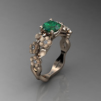 Nature Inspired 14K Rose Gold 1.0 Ct Emerald Diamond Floral Engagement Ring R1022-14KRGSDEM