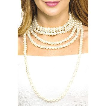 Faux pearl long necklace set
