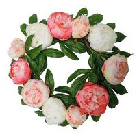 "Artificial Peony Wreath Pink (18"") - Threshold™"
