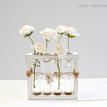 Shabby chic wooden bud vase with test tubes, Simplicity line, made to order, spring summer home decor