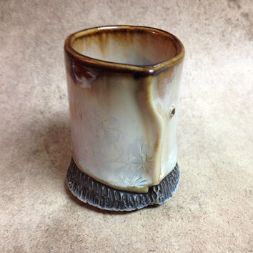 Crystalline Glaze Shot Glass in Pale Blue & Ivory White, Hand Built Ceramic Cup, One of a Kind Tiny Art Vessel. 2.25 in. tall.  Food Safe.