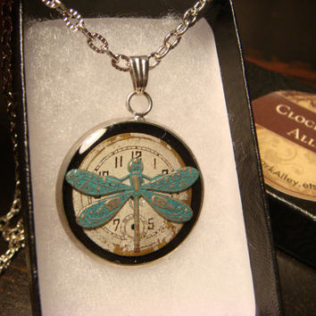 Dragonfly over Watch Face Steampunk Style Pendant Necklace (1843)