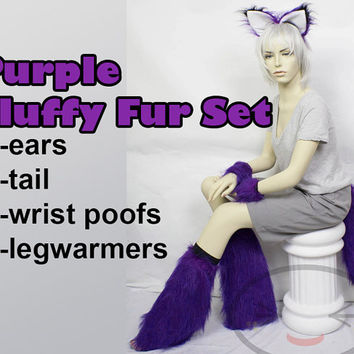 PURPLE Fluffy Furry Set - comes with Ears, Tail, Wrist Poofs, Legwarmers - Raves, Cosplay, Costumes, Cats, Foxes, Wolves,  Animals
