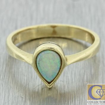 Vintage Estate 14k Yellow Gold .50ct Pear Shape Fire Opal Cocktail Ring