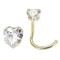 14KT Gold Nose Screw Ring 3mm Clear Heart CZ 22G