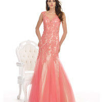 Coral Pink Lace Mermaid Dress Prom 2015