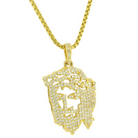 Custom 14k Gold Plate Hip Hop Iced Out Simulated Diamond Ghost Jesus Piece Heavy