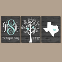Family Tree State Monogram Wood Effect Wall Art Initials Wedding Shower Gift Last Name Date Tree Birds Custom Personalized Set of 3 Prints