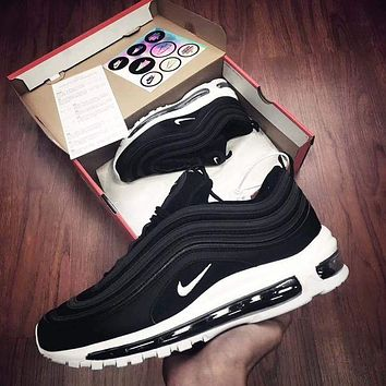 NIKE AIR MAX 97 Fashion Casual Women Men Running Sports Shoes Black White Soles G