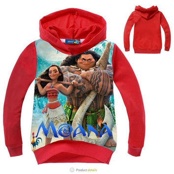 New MOANA children 's sweater Boys cartoon T shirts cotton long sleeve hoodie kids sweater tops children outerwear boys clothing