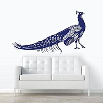 Wall Decal Vinyl Sticker Decals Art Decor Design Peacock Bird Animal Beautiful Feather Tail Pin Bedroom Modern Fashion Style (r358)