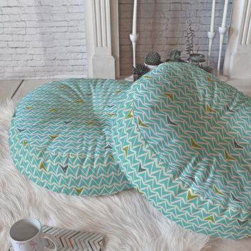 Heather Dutton Take Flight Aqua Floor Pillow Round