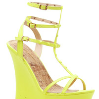 Neon Yellow Faux Leather Studded Ankle Strap Wedges