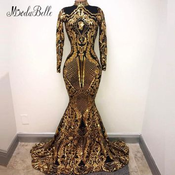 modabelle Ladies Long Sleeves Sequin Evening Dress Black Gold 2018 Arabic Abend Kleider Lange Formal Dress Women Party Gown